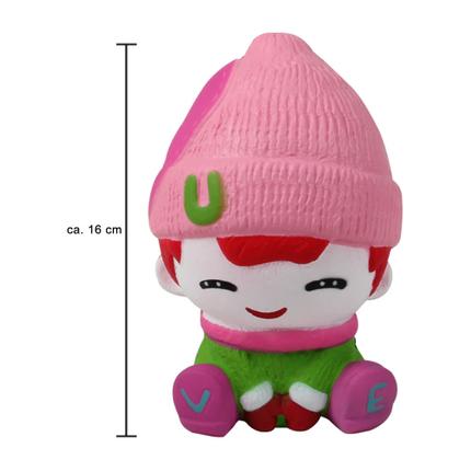 SQ-241 Squishy Squeeze Mädchen mit Winterkleidung rosa ca. 16 cm
