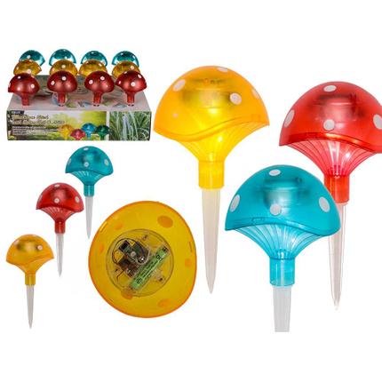 220130 Kunststoff-Gartenstecker, Pilz, mit Solarzelle & LED (inkl. Batterie) ca. 21 x 9,5 cm, 3-farbig sortiert, 12 Stück im Aufsteller, 336/PAL