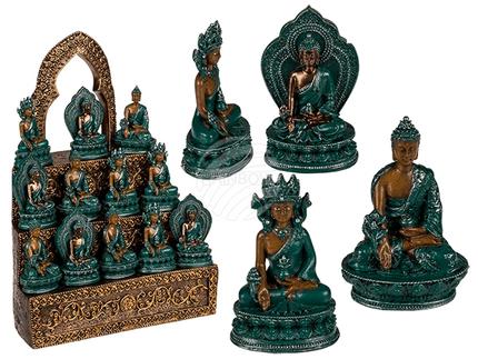 78-5833 Polyresin-Buddha, Bhaisajyaguru, ca. 5 x 5 cm, 3-fach sortiert, 96 Stück & 1 Polyresin-Termpeldisplay, 4704/PAL