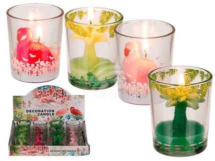 144035 Kerze im Glas, Palme & Flamingo, ca. 7 x 5 cm, 4-fach sortiert, 12 Stück im Display, 2592/PAL