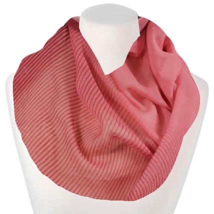 SCH-1613c Damen Loopschal Linien Zacken gezackt Blumen Blüten Rosen floral rosa rot