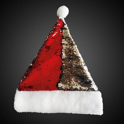 WM-120 Weihnachtsmütze Pailletten rot silber mit Bommel