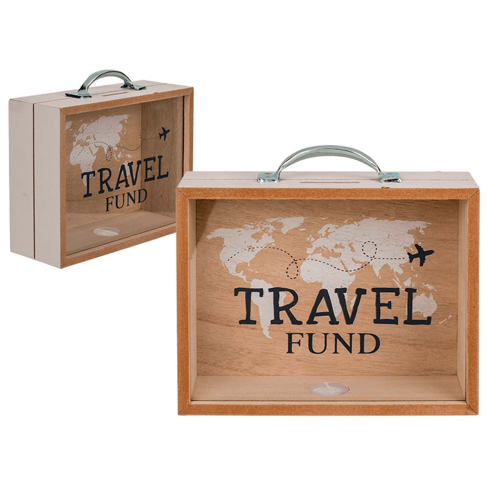 144285 Holz-Spardose, Travel Fund, ca. 20,5  x 12 cm, 320/PAL