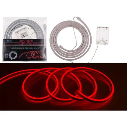 57-8814 Roter Neon-Lichtschlauch mit LED, L: 2 m, für 3 Mignon Batterien (AA) in PVC-Box, 1152/PAL
