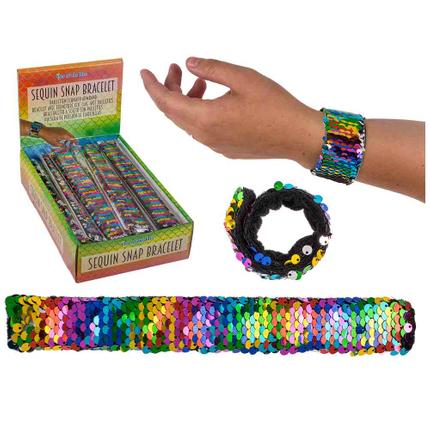 230064 Pailletten-Schnapp-Armband, Rainbow, ca. 21,5 cm, 24 Stück im Display, 8640/PAL