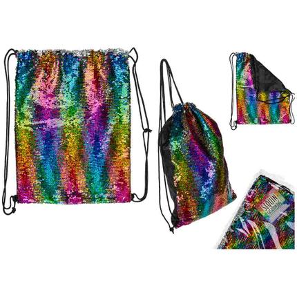 230066 Pailletten-Fashion-Beutel, Rainbow, mit Innentasche & schwarzem Innenfutter, ca 44 x 35 cm, im Polybeutel, 576/PAL