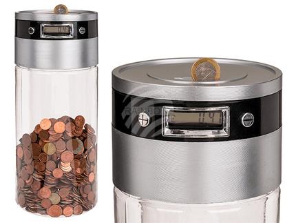 69-1256 Kunststoff-Spardose mit digitalem Display, ca. 33 cm, für 2 Mignon Batterien (AA)