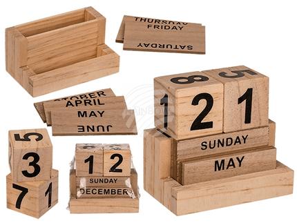 144304 Naturfarbener Holz-Kalender, ca. 10 x 9 cm, 1152/PAL