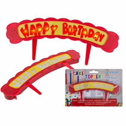 62-0984 Kunststoff-Kuchen-Topper mit Musik, Happy Birthday & LED (inkl. Batterien) ca. 18,7 x 3,5 cm, auf Blisterkarte
