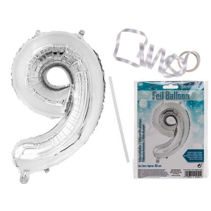 62-0709 Silberfarbener Folien-Luftballon, Ziffer 9, ca. 80 cm, wiederbefüllbar, im Polybeutel mit Headercard, 6720/PAL