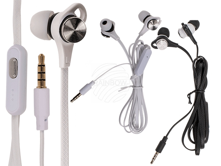 69-1087 IN EAR-Kopfhörer mit Mikrofon & ca. 1,10 m flachem Kabel, 2-farbig sortiert