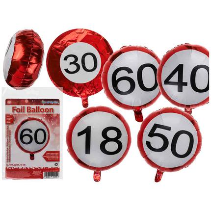 62-0829 Rote Folien-Luftballons, Happy Birthday - 18, 30, 40, 50 & 60 sortiert, ca. 45 cm, wiederbefüllbar, im Polybeutel mit Headercard, 8640/PAL