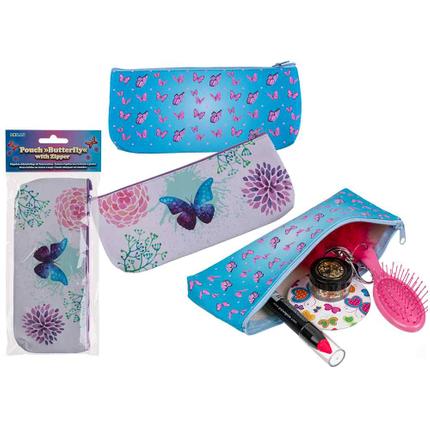 230070 PVC-Mäppchen, Schmetterling, mit Reissverschluss, ca. 21 x 9,5 cm, 2-fach sortiert (16 x weiß, 8 x blau) im Polybeutel mit Headercard