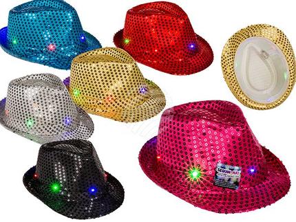 190415 Pailletten-Hut mit blinkender LED (inkl. Batterien) 6-farbig sortiert, 100% Polyester, ca. 58 cm, 864/PAL
