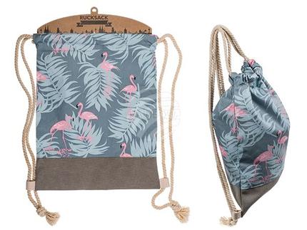 230078 Grauer Fashion-Beutel, Flamingo, taupefarbenem Boden, weißem Innenfutter & Kordelbandlträgern, 65% Baumwolle & 35% Polyester, ca. 33 x 50 cm, auf Pappkarte, 672/PAL