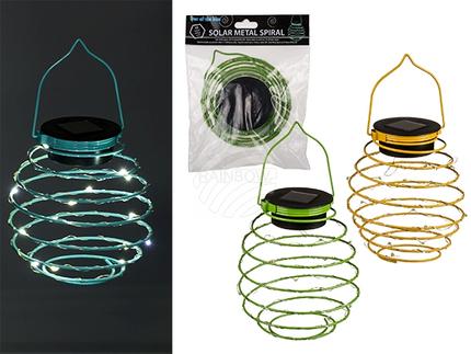 220389 Metall-Spirale mit Solar & 15 warmweißen LED (inkl. Batterie) ca. 14 x 12 c m, 3-farbig sortiert, im Polybeutel mit Headercard