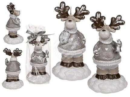 960371 Braun/weiße Kerze, Rentier, ca. 8,8 x 16,5 cm, 2-fach sortiert, im Polybeutel mit Geschenkband