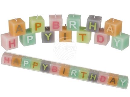 181008 Pastellfarbiger Kerzenblock mit Schrift, Happy Birthday, ca. 3 x 3 cm, 13er Set in PVC-Box