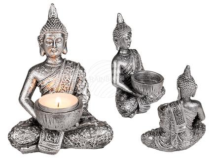 190157 Polyresin-Teelichhalter, Buddha, ca. 14,5 x 11 cm