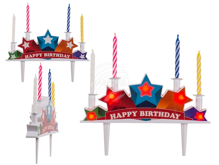 62-0898 Kunststoff-Kuchen-Topper mit Musik, Happy Birthday mit 4 Kerzen & LED (inkl. Batterien) ca. 16,5 x 10 cm, auf Blisterkarte