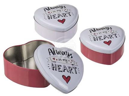 101949 Herzförmige Metall-Dose, Always in my Heart, ca. 12 x 5 cm, 2-farbig sortiert