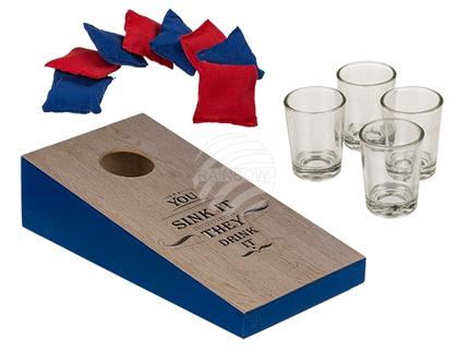 93-2094 Trinkspiel, Bean Bag Toss, ca. 25 x 12,5 cm, mit 8 Wurfsäckchen, ca. 4 x 4 cm & 4 Shooter-Gläsern, für ca. 30 ml