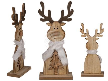 960264 Holz-Rentier auf Holz-Standfuß, ca. 30,5 x 13,5 cm