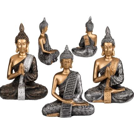 190013 Polyresin-Figur, Buddha, ca. 19,5 x 14 cm, 3-fach sortiert