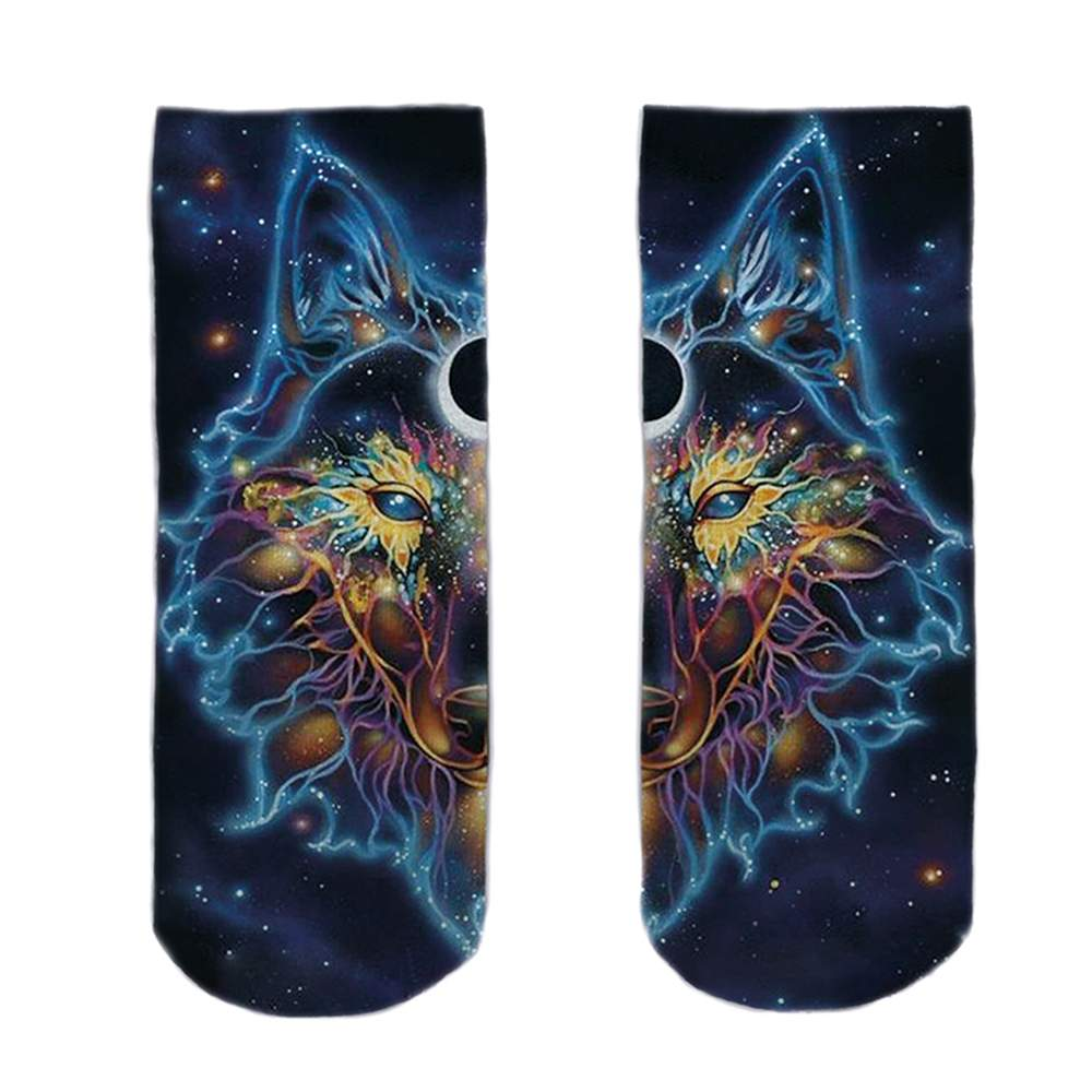 SO-L123  Motiv Socken Weltall Wolf multicolor ca. 37 - 40