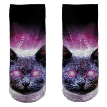 SO-L129  Motiv Socken multicolor  Katze Himmel