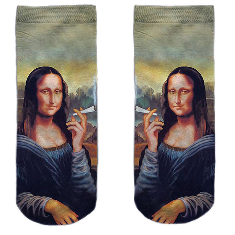 SO-L139  Motiv Socken multicolor Mona Lisa kiffen