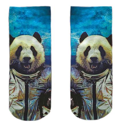 SO-L169  Motiv Socken blau weiß Panda Astronaut