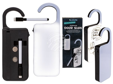 57-6071 Beleuchtetes Kunststoff-Türschild mit Magneten & Stift zum Beschreiben, ca. 22 x 8 cm, für 3 Micro Batterien (AAA), 1152/PAL