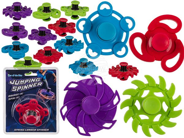 61-6650 Kunststoff-Crazy Jumping Spinner, ca. 8 cm, 4-fach & 4-farbig sortiert, in Blisterpackung, 1536/PAL