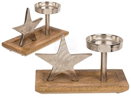 260174 Silberfarbener Metall-Kerzenhalter mit Stern auf Holz-Standfuß, ca. 23 x 14