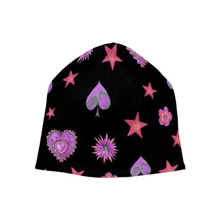 SM-304 Strickmütze Long Beanie Slouch Mütze schwarz Herzen Sterne Blüten Pik