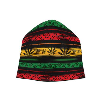 SM-316 Strickmütze Long Beanie Slouch Mütze Jamaika Rastafari Hanf abstrakt gestreift floral