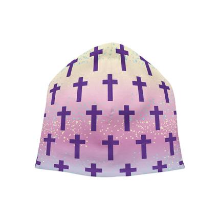 SM-361 Strickmütze Long Beanie Slouch Mütze multicolor pastellfarben Kreuze gepunktet