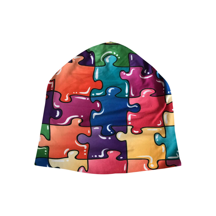 SM-365 Strickmütze Long Beanie Slouch Mütze multicolor Puzzle Puzzlestücke
