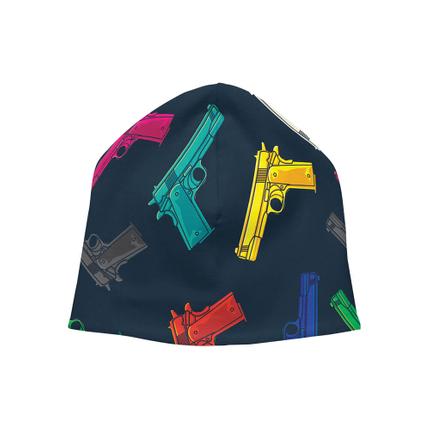 SM-374 Strickmütze Long Beanie Slouch Mütze dunkelblau Pistolen Waffen