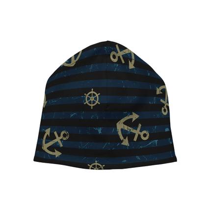 SM-380 Strickmütze Long Beanie Slouch Mütze schwarz blau Anker Steuerrad gestreift maritim