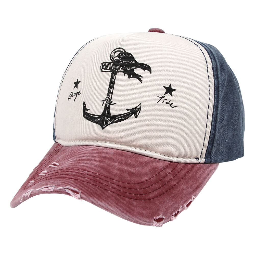 CAP-225 Vintage Retro Distressed Trucker Cap rot weiss blau Anker, change the tide One Size Fits all