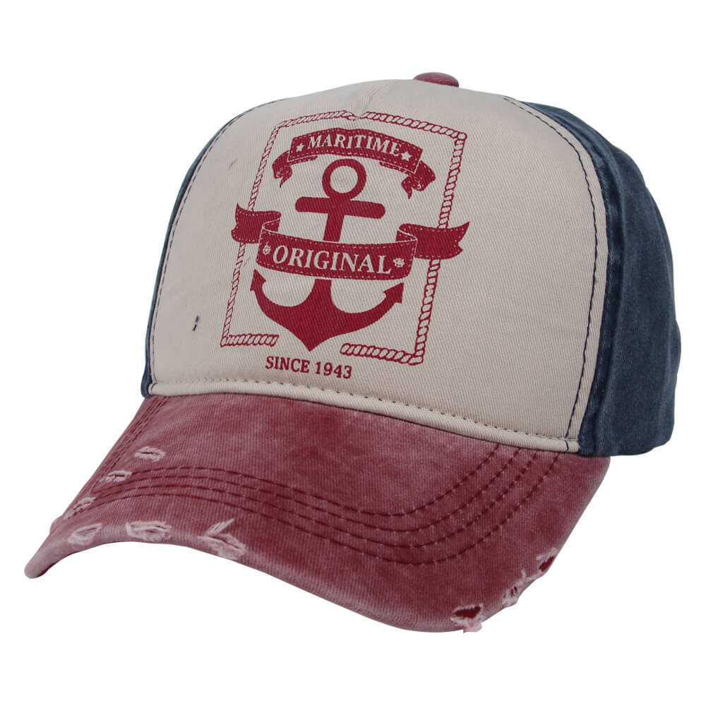 CAP-229 Vintage Retro Distressed Trucker Cap rot weiss blau Anker, Maritime Original One Size Fits all