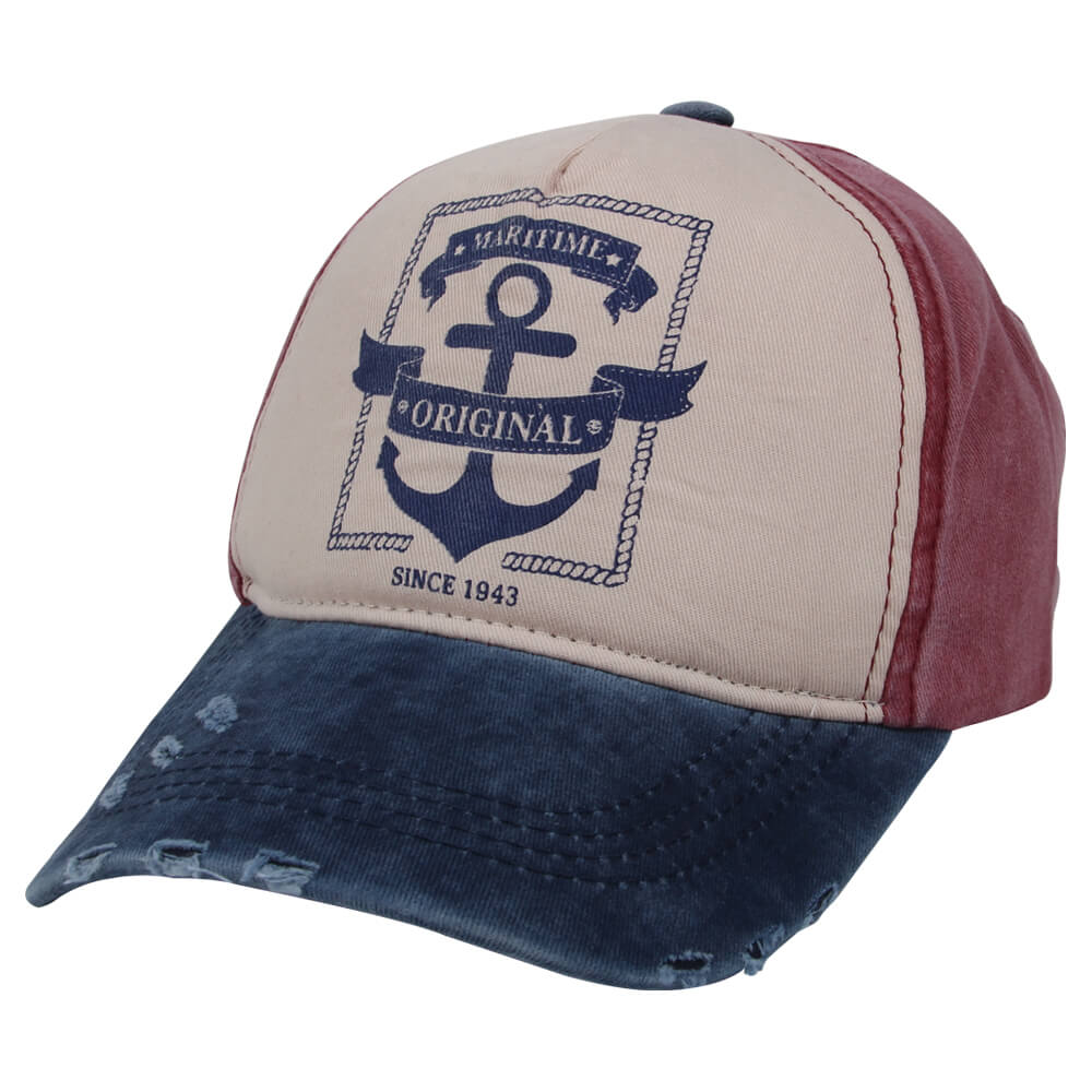 CAP-230 Vintage Retro Distressed Trucker Cap weiss rot blau Anker, Maritime Original One Size Fits all