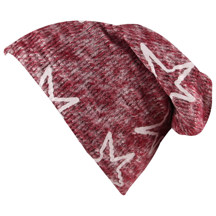 SM-421 Long Beanie Slouch Mütze rot grau meliert Strickmuster Sterne weiß