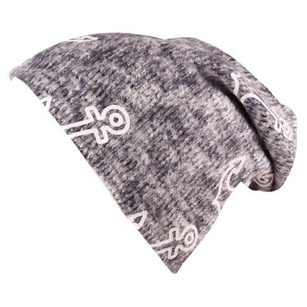 SM-426 Long Beanie Slouch Mütze grau hellgrau meliert Strickmuster Anker maritim weiß