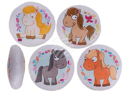 32-2053 Deko-Kissen, My Pony, 100% Polyester, D: ca. 30 cm, ca. 135 g Füllgewicht, 4-fach sortiert