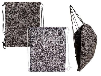 230108 Fashion-Beutel, Leopard Style, 2-fach sortiert, mit Kordelbandträgern, ca. 42 x 34 cm, mit Pappkarte