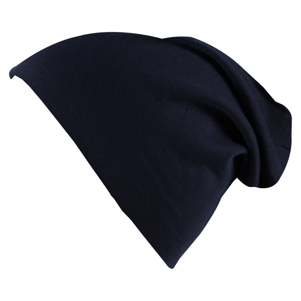 SM-441c Long Beanie Slouch Mütze blau dunkelblau einfarbig