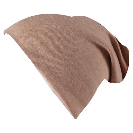 SM-443h Long Beanie Slouch Mütze hellbraun einfarbig